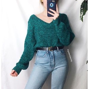 🍂 Vintage Speckled Teal Slouchy Woven Knit 🍂